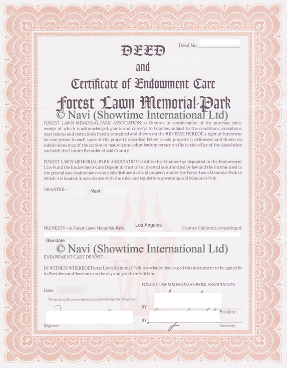 Scan of Navi's Forest Lawn deed